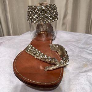 Zigy Girl Rhinestone Ankle Strap Flat Sandals